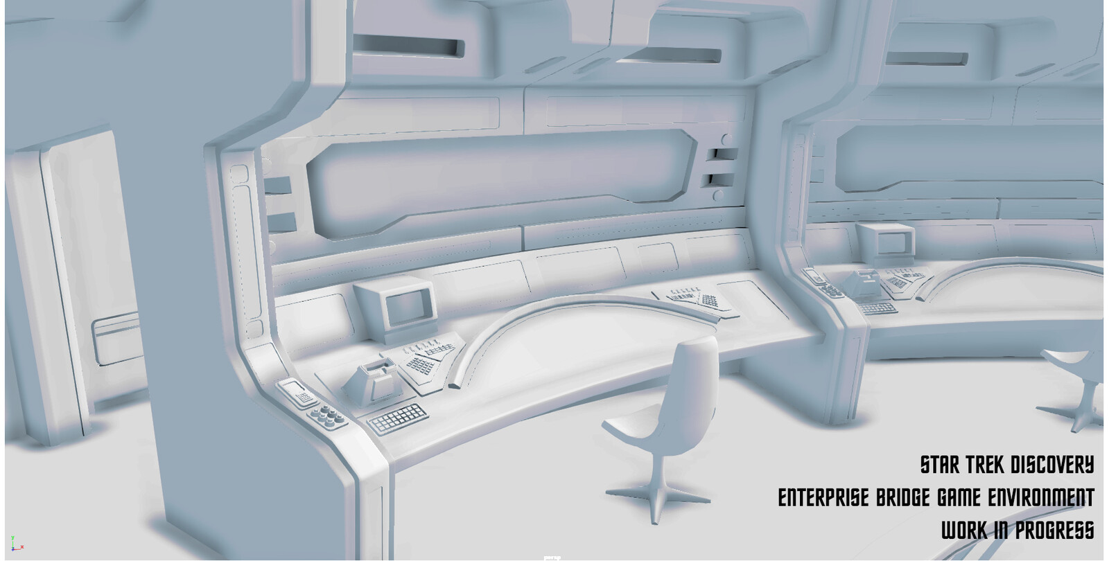 I am currently recreating the re-imagined USS NCC-1701Enterprise bridge captained by Christopher Pike from Star Trek Discovery as a real-time environment. (Hence the triangles, CG friends!) I am currently working on texturing and lighting the environment