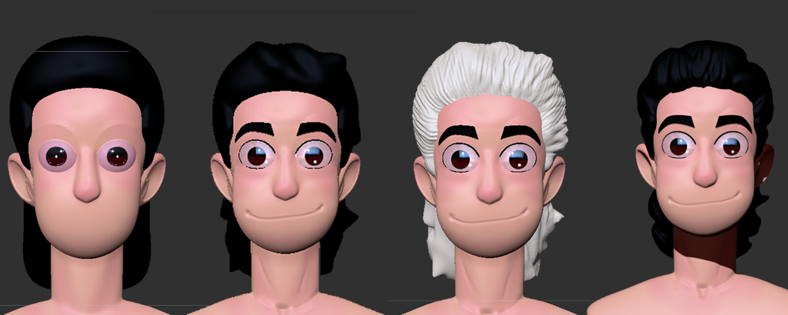 Stages of figuring out how to sculpt hair