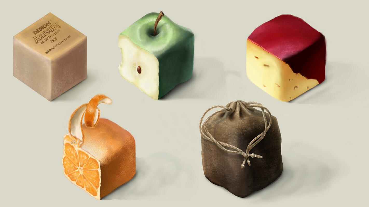 Eraser, Apple, Cheese, Orange, Burlap