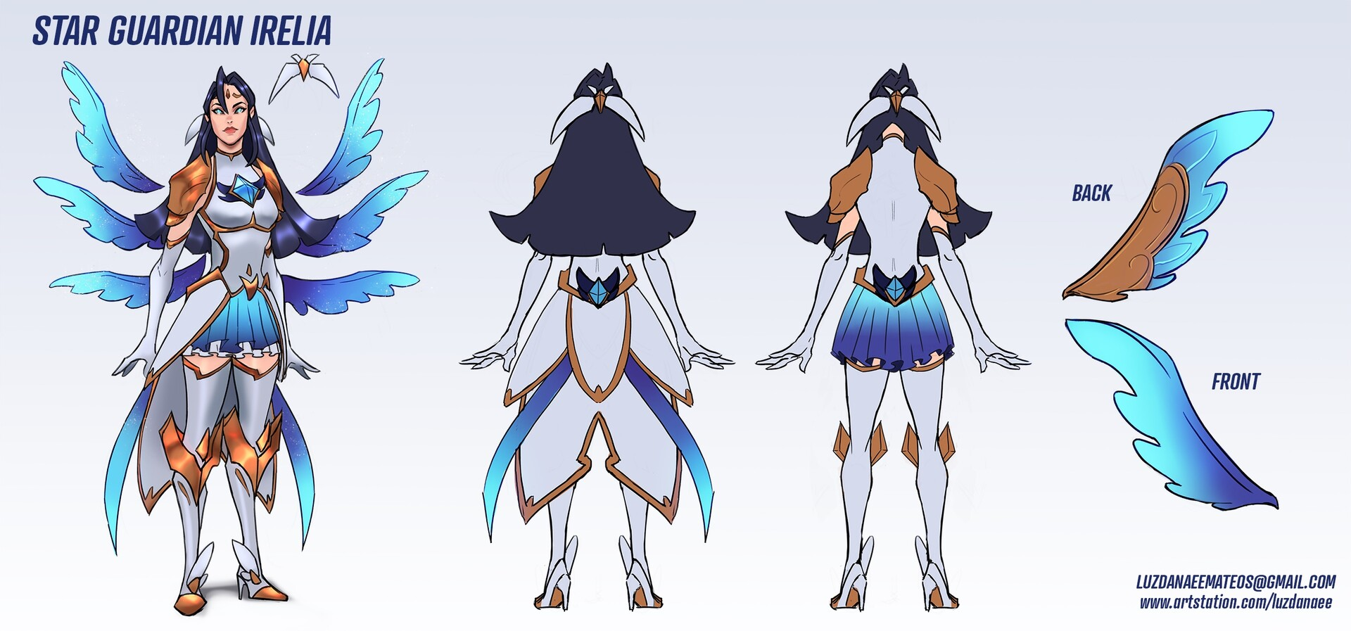 Star Guardian Irelia Final skin concept sheet