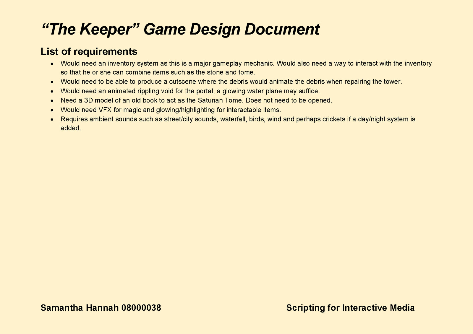 Game Design Document Page 12