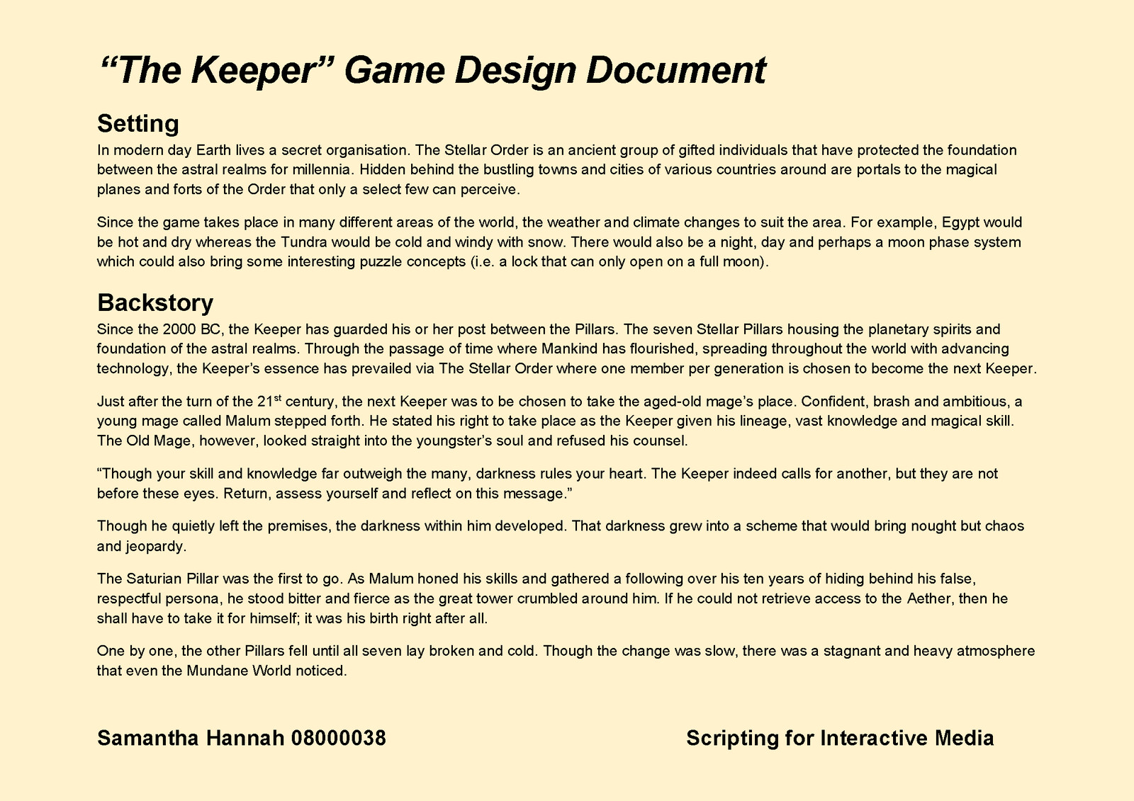 Game Design Document Page 3