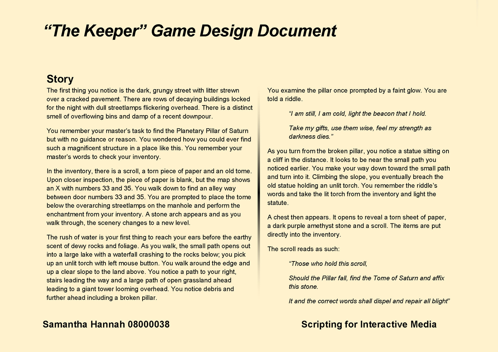 Game Design Document Page 5