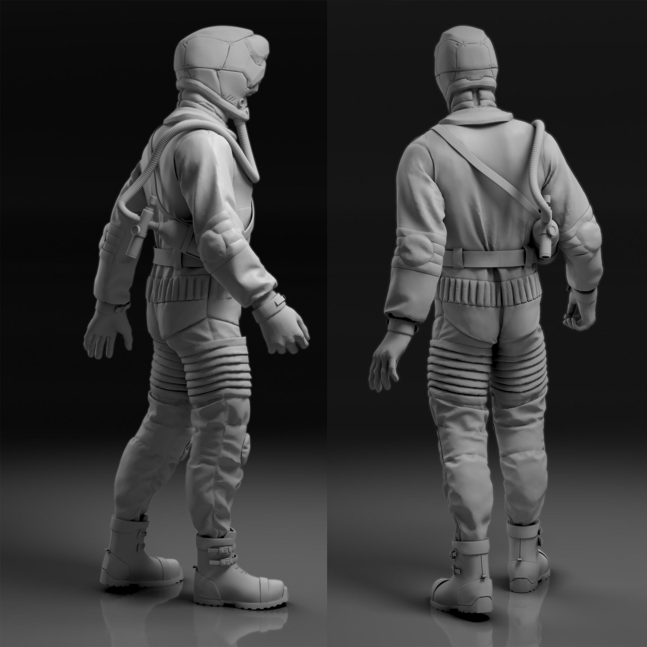 Sci-fi scientist/astronaut/worker 3d concept render.