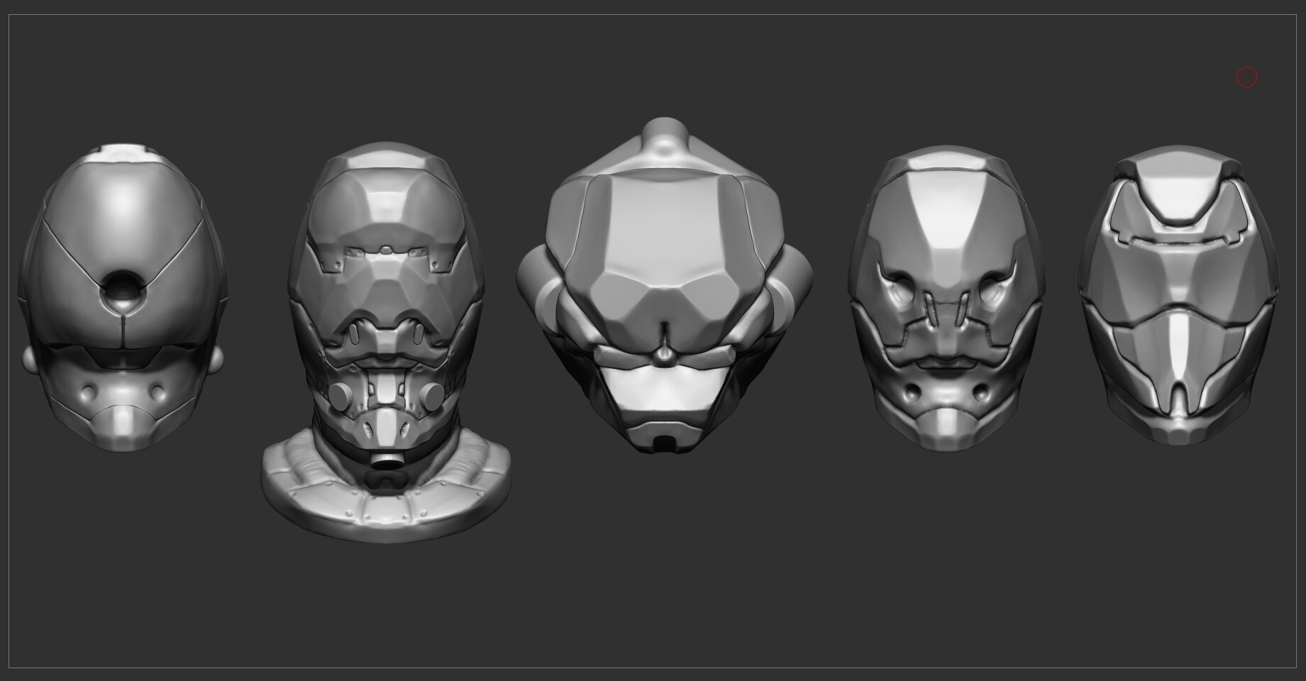 Several concepts of helmets made in Zbrush