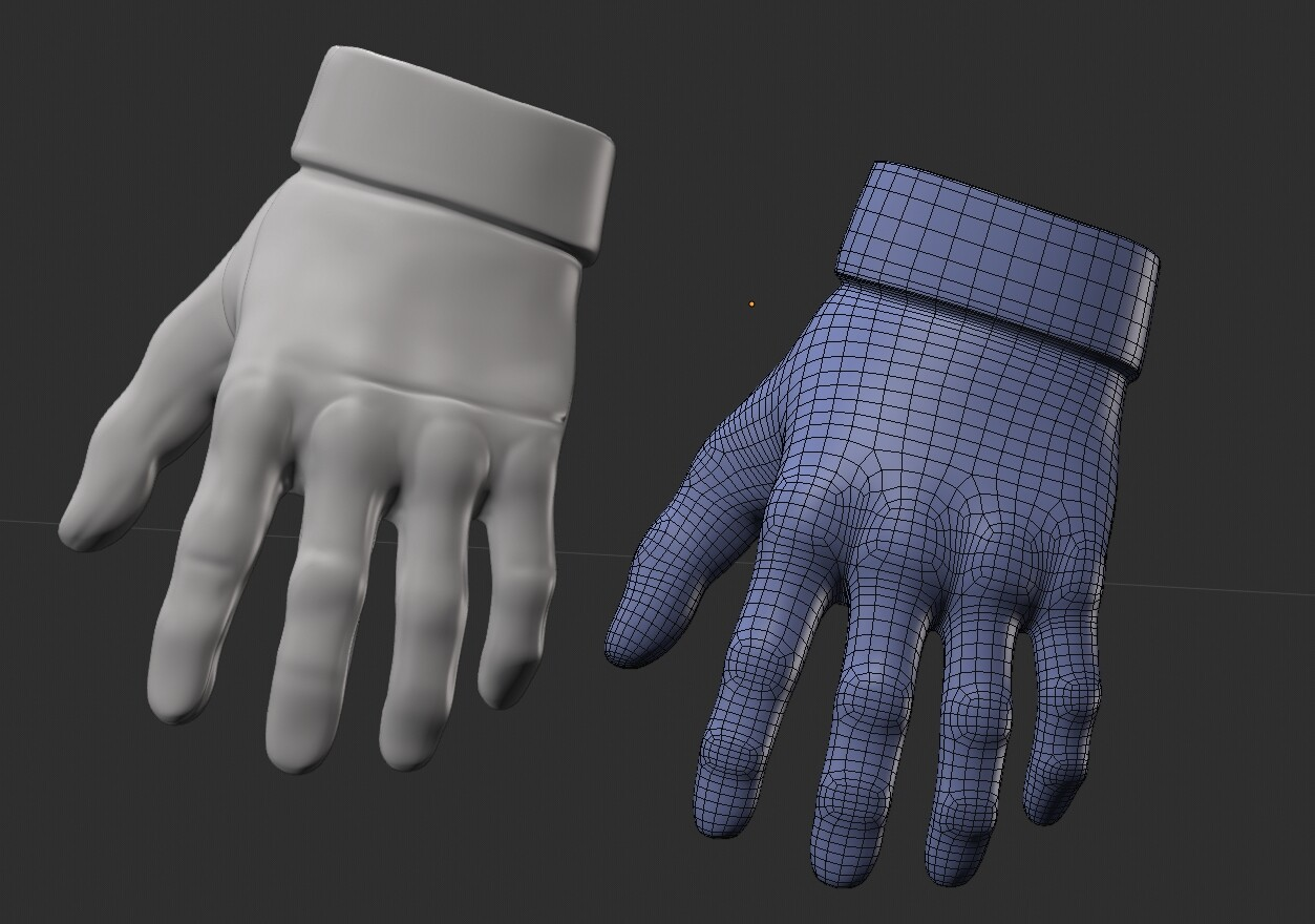 Retopology of a glove