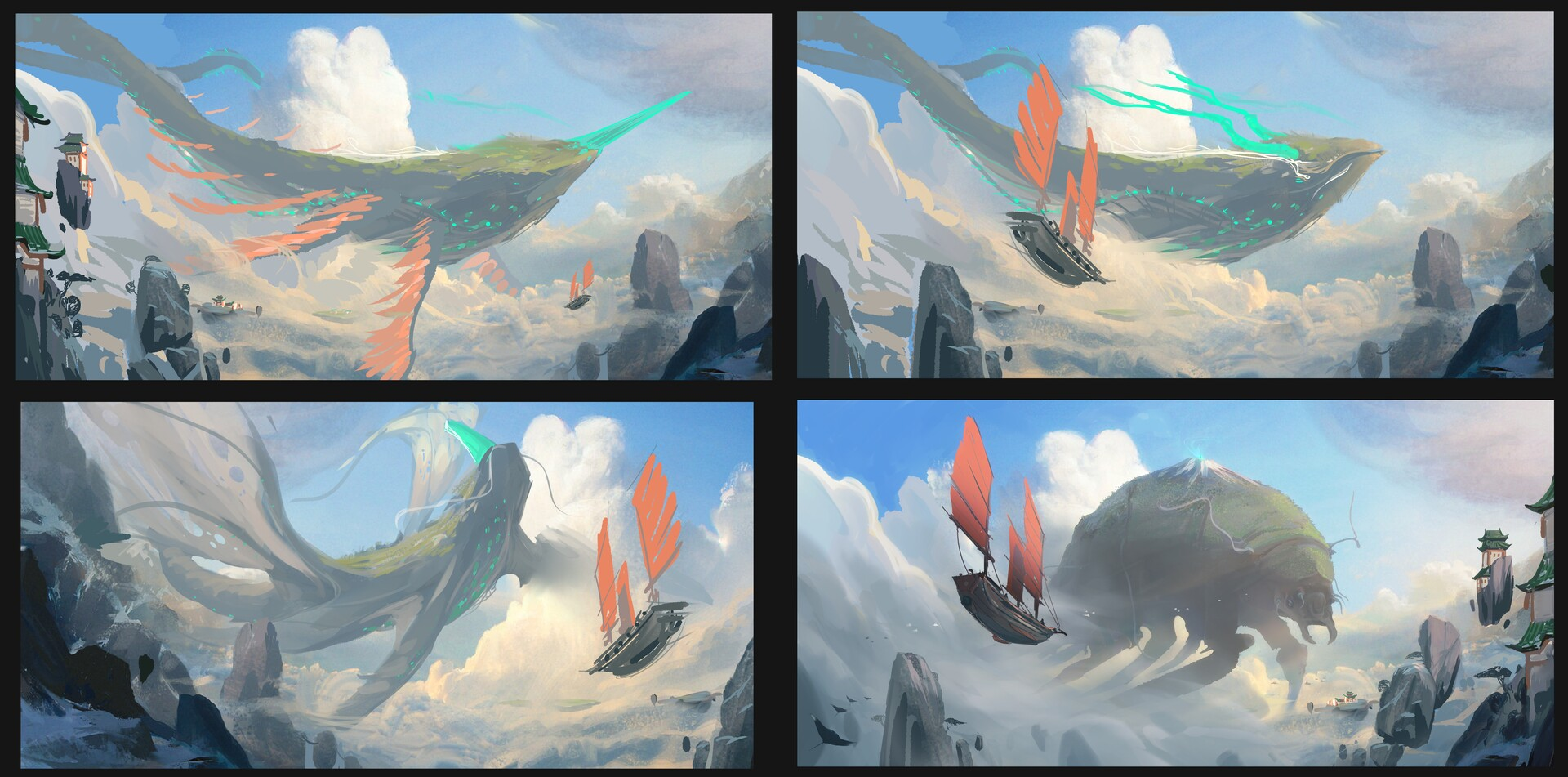 Alternative leviathan options. The jade color hint is important for the story, so I explored various options with jade horns, in the end the more subtle option was chosen, because it could pass as a mountain.