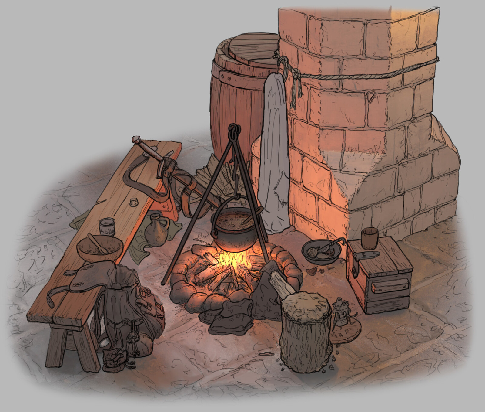 The Siege: Earl's Keep - Cooking Fire Variation 01  // Fantasy / Medieval / Props / Design (240 min)