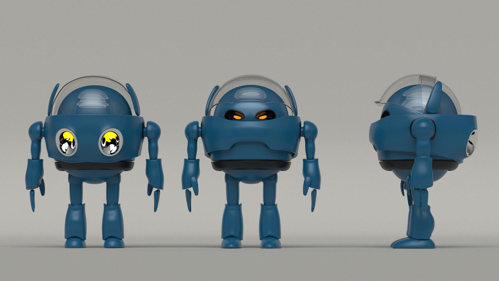 3d views Concept Cartoon Robot (Own Design)