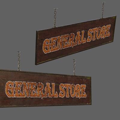 Federico zimbaldi general store wood sign 9633