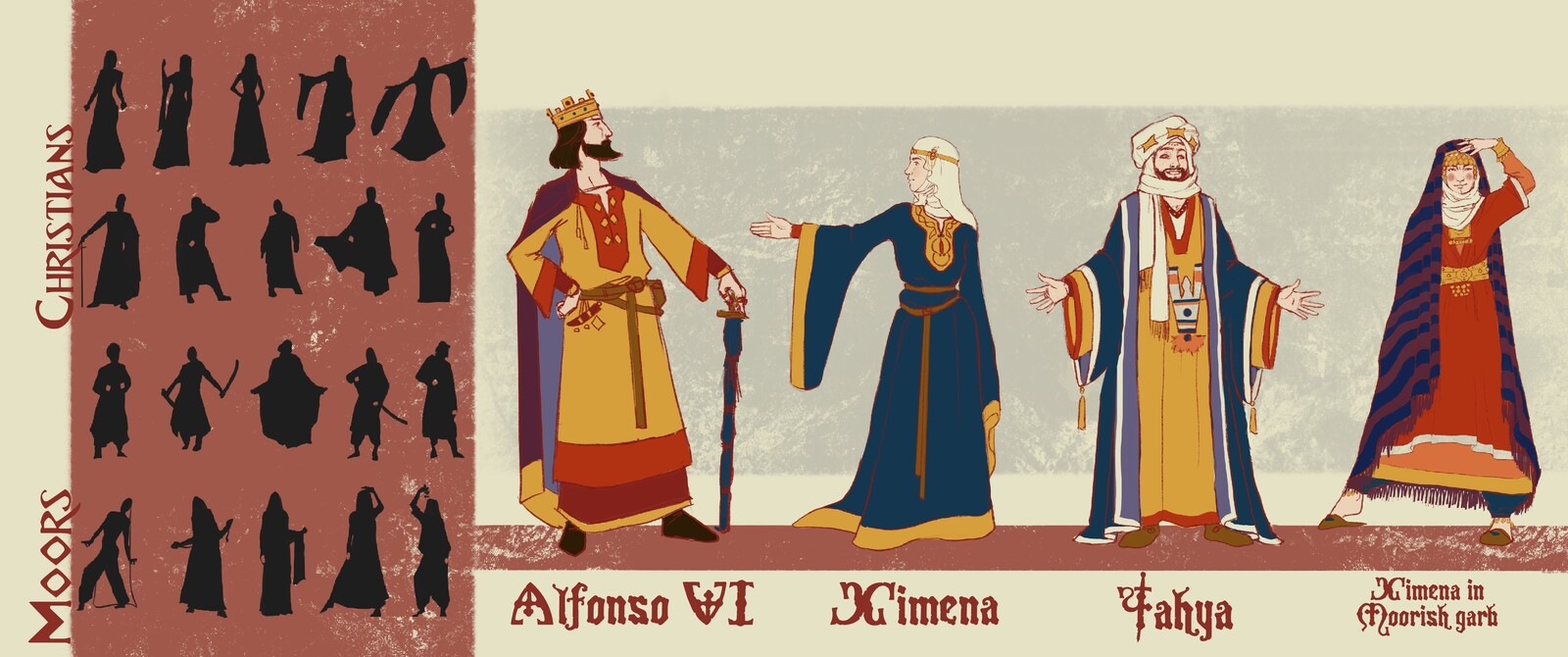 Character concepts showing the two different styles of the 11th century.