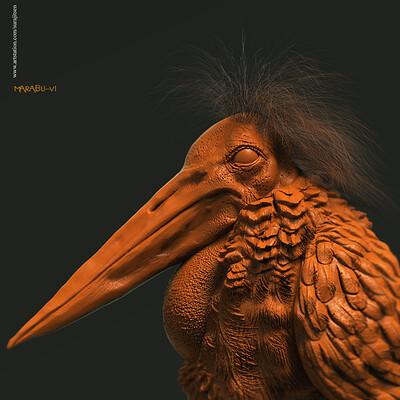 Surajit sen marabu v1 digital sculpture surajitsen jan2020sa1