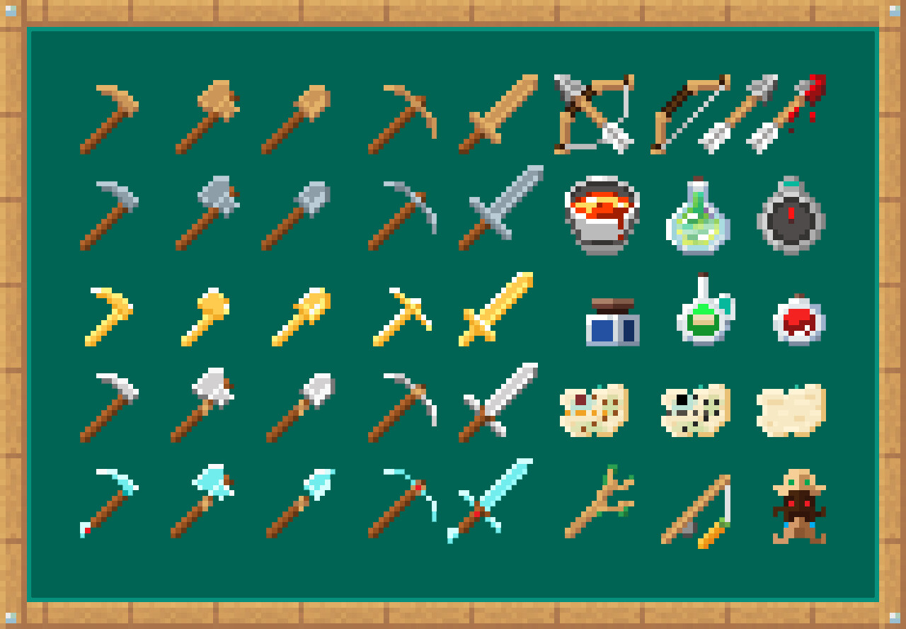 Weapon, tools, and extra useful things for an adventure!