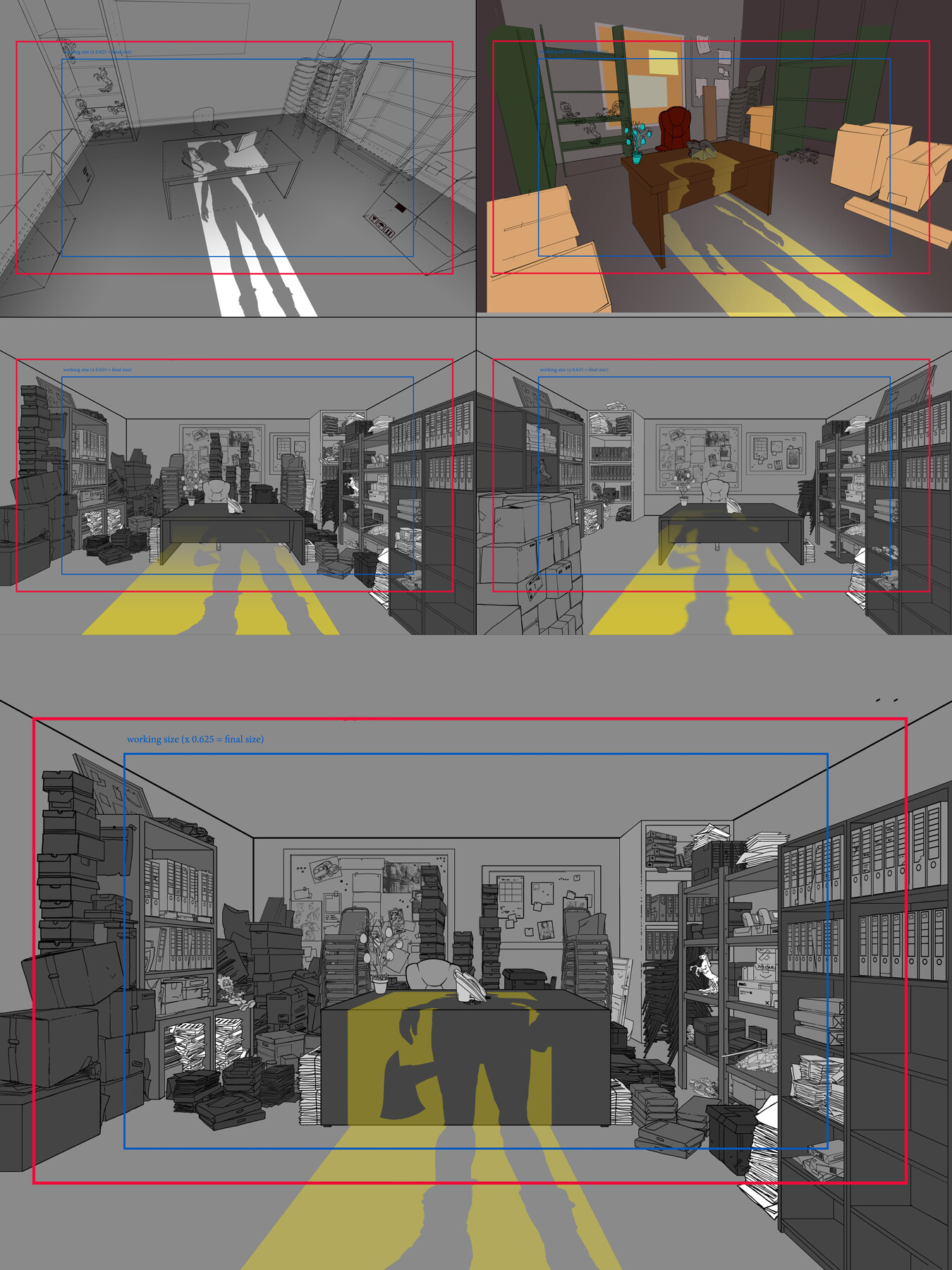 Top 4 thumbnails: previous versions Bottom: final lineart for a scene, with the light from the doorway suggested for the animators.