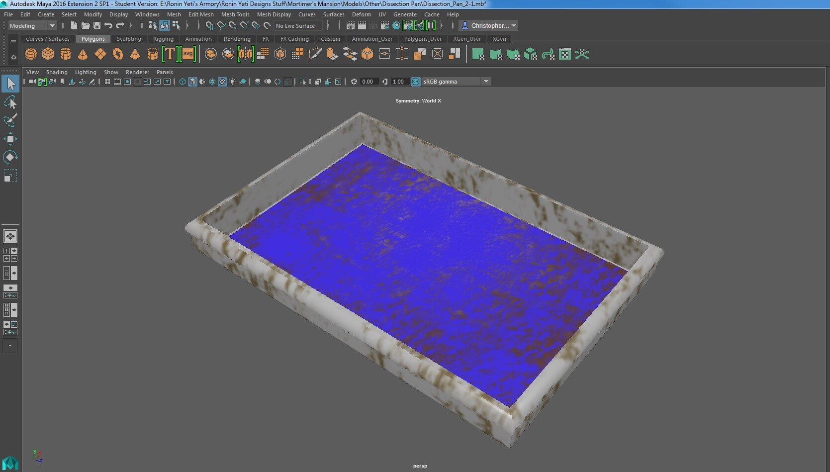The final version for the dissection pan model