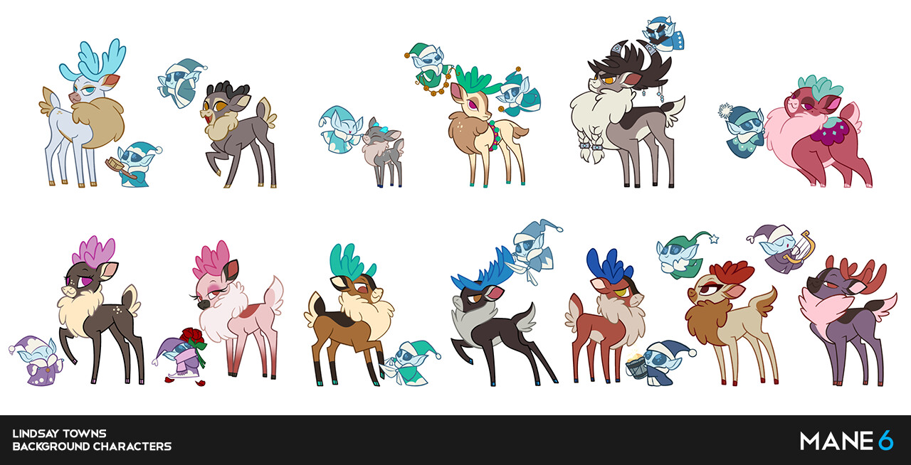 Background NPCs for Reine.   Ice sprite holding food bucket sketch by Lauren Faust.  Strong grey viking buck concept by Omari Smith.