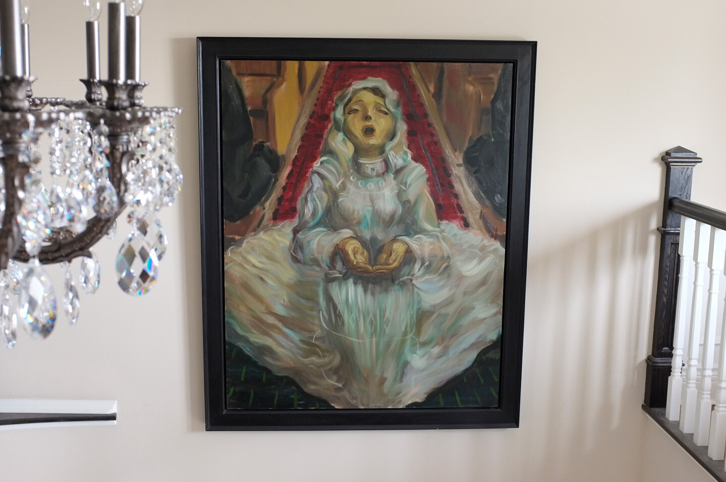 THE FIRST COMMUNION, painted by Vince Mancuso in 1990, oil on canvas 4x5 feet, private collection.