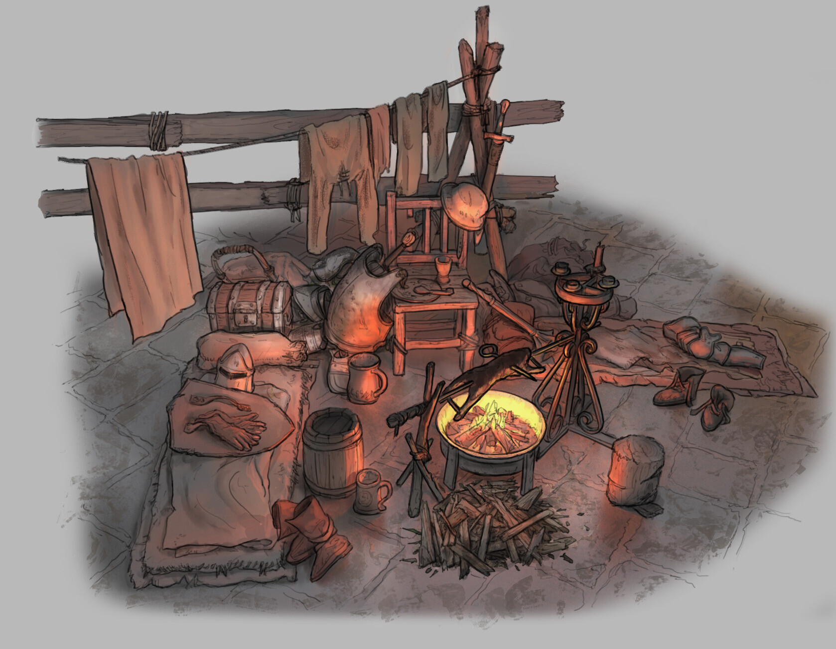 The Siege: Earl's Keep - Cooking Fire Variation 03 // Fantasy / Medieval / Props / Design (250 min)