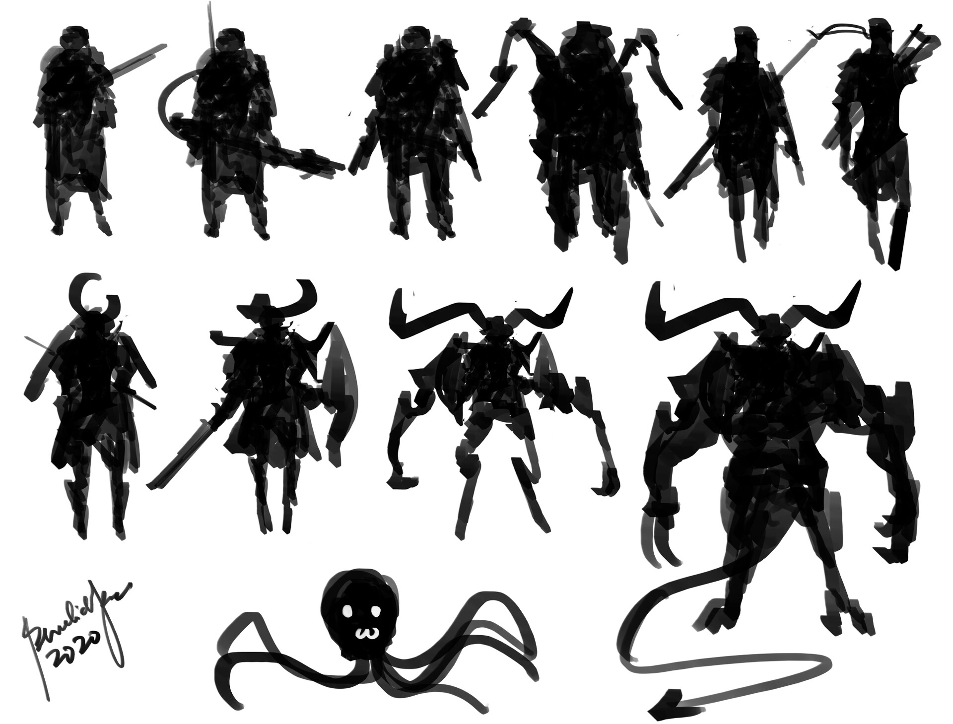 Speedpainting character designs Silhouettes in 8 minutes (Not timelapse video) Using only 1 base character. :D