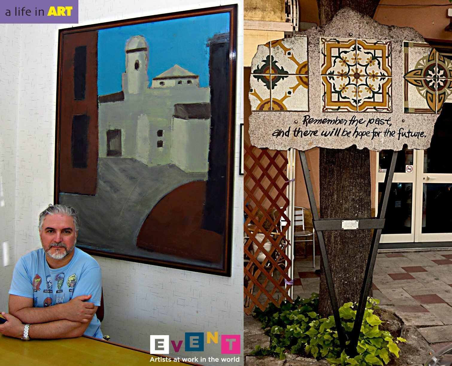 Vince Mancuso in Italy with his painting IT BEGINS, 4x5 feet, oil on canvas and to the right photo of his public sculpture in the town of Delia, Italy.