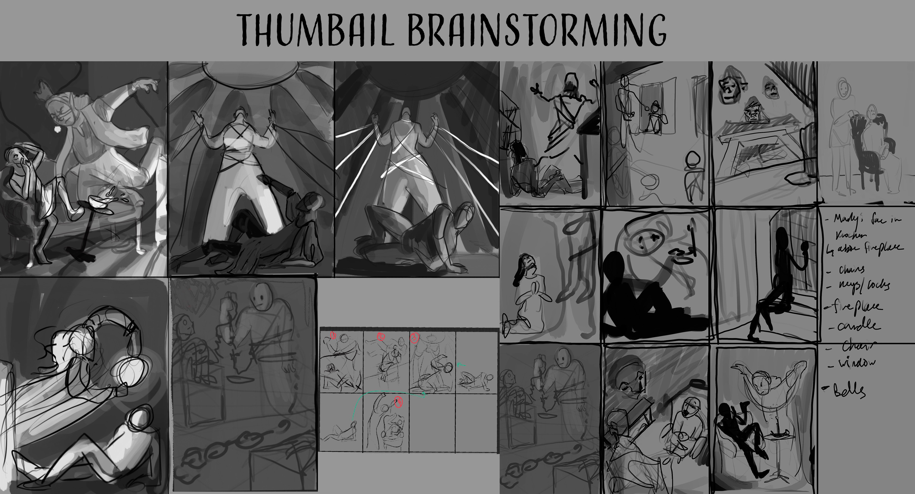 I went through a long process of thumbnail brainstorming! Here's a small selection of the ideas I had bouncing around for this project. I ended up going with a combination of the idea in the top left and bottom right (completed in Procreate)