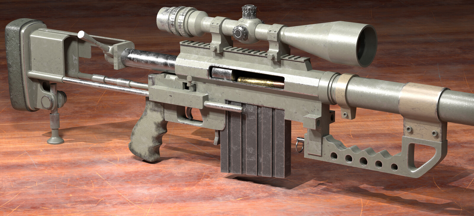 Cheytac m200 sniper rifle - renders part 1