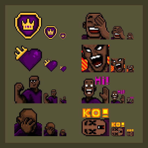 Twitch Chat emote pack in the three required resolutions: 28px, 56px and 112px