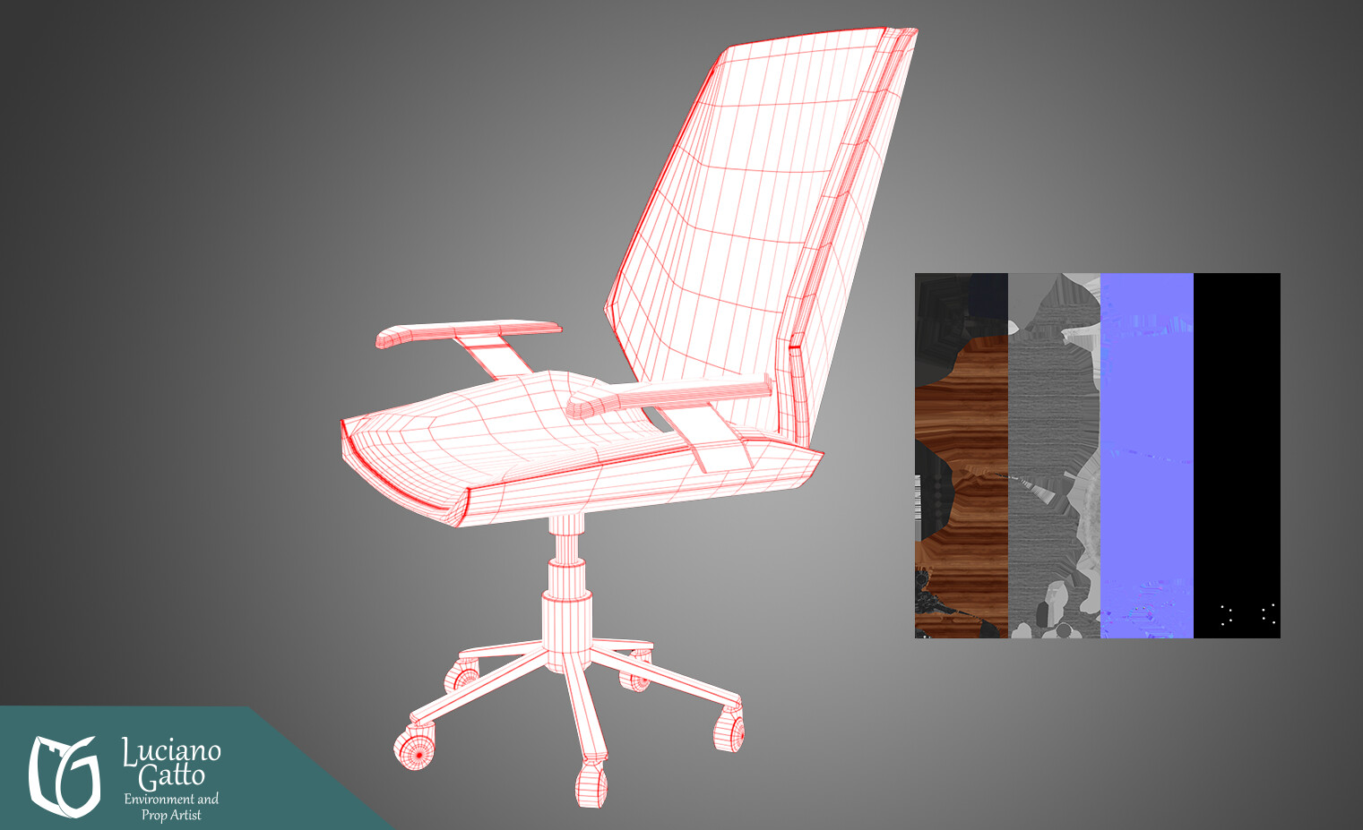 Chair wireframe and texture maps