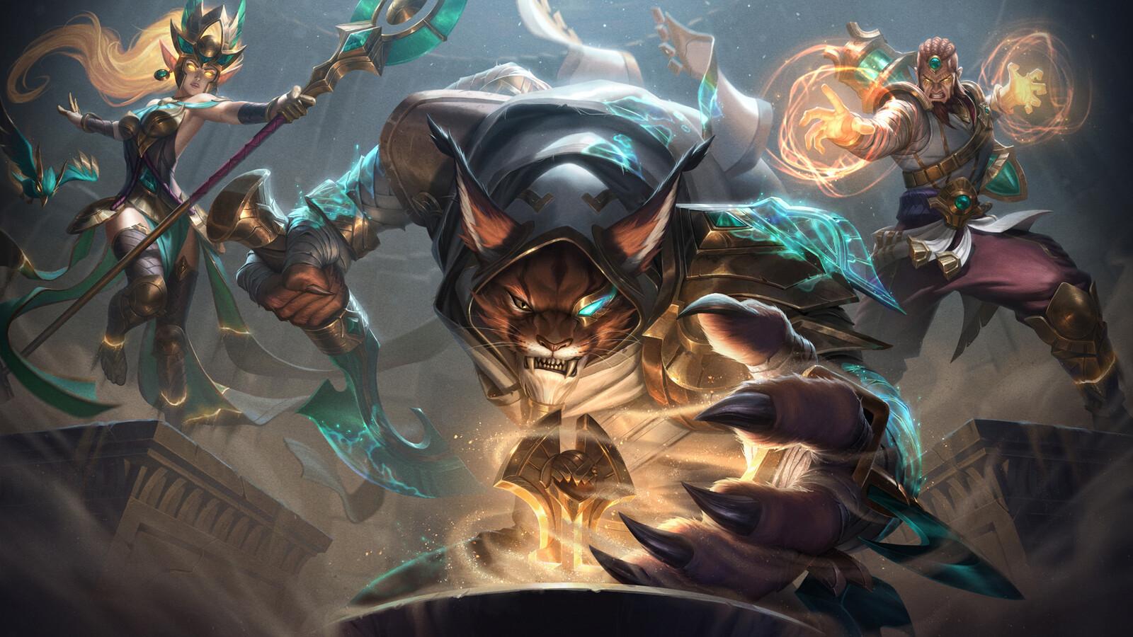 Guardians of the Sand - Rengar, Janna, and Ryze Splash Art for League of Legends