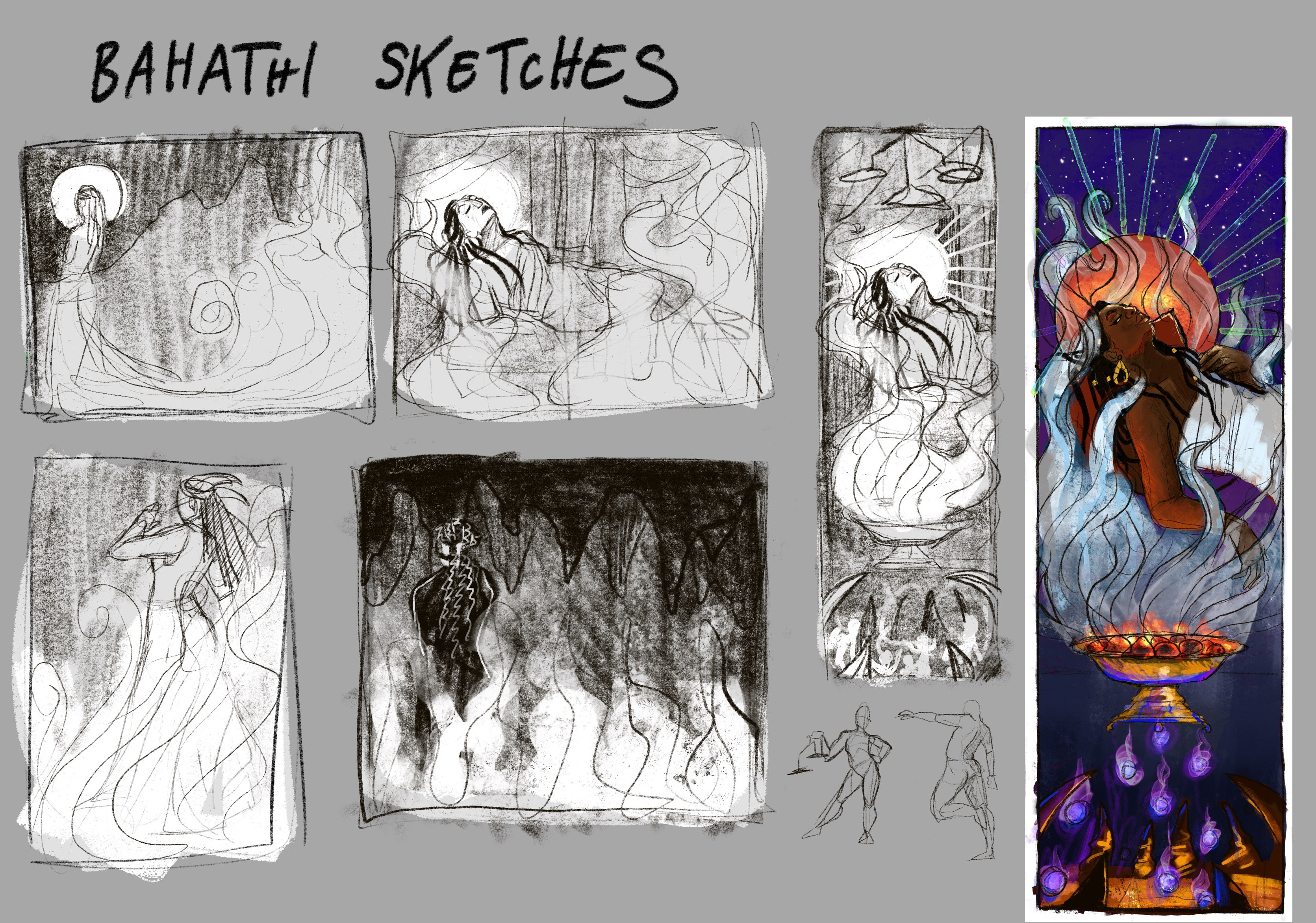 Initial round of thumbnailing with a color test for one of the ideas