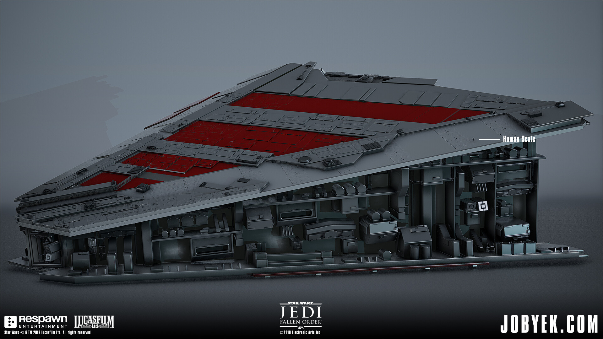 Modeling work on Venator Wing that is used and navigated on throughout the level. This was supplemented by smaller modular panels added in-engine (but shown here merged). Initial base model from DICE.