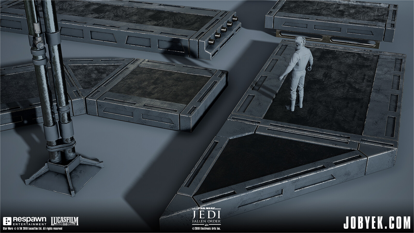 Portion of Imperial platforms modular set, all using face-weighted normals workflow