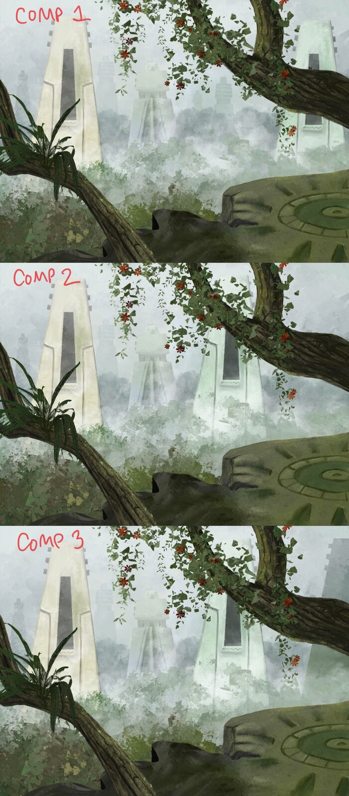 3 alternative arrangements of the temples! I ended up going with the top one!