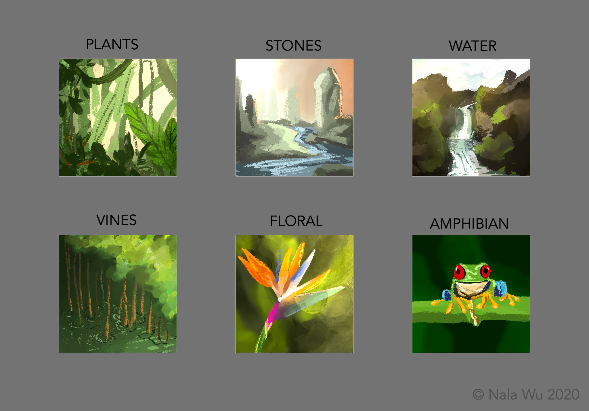 In preparation for this project, I did 6 'swatches'—  very quick 2x2in digital paintings (7 minutes each) to start practicing various textures & rendering for the Jungle Environment!