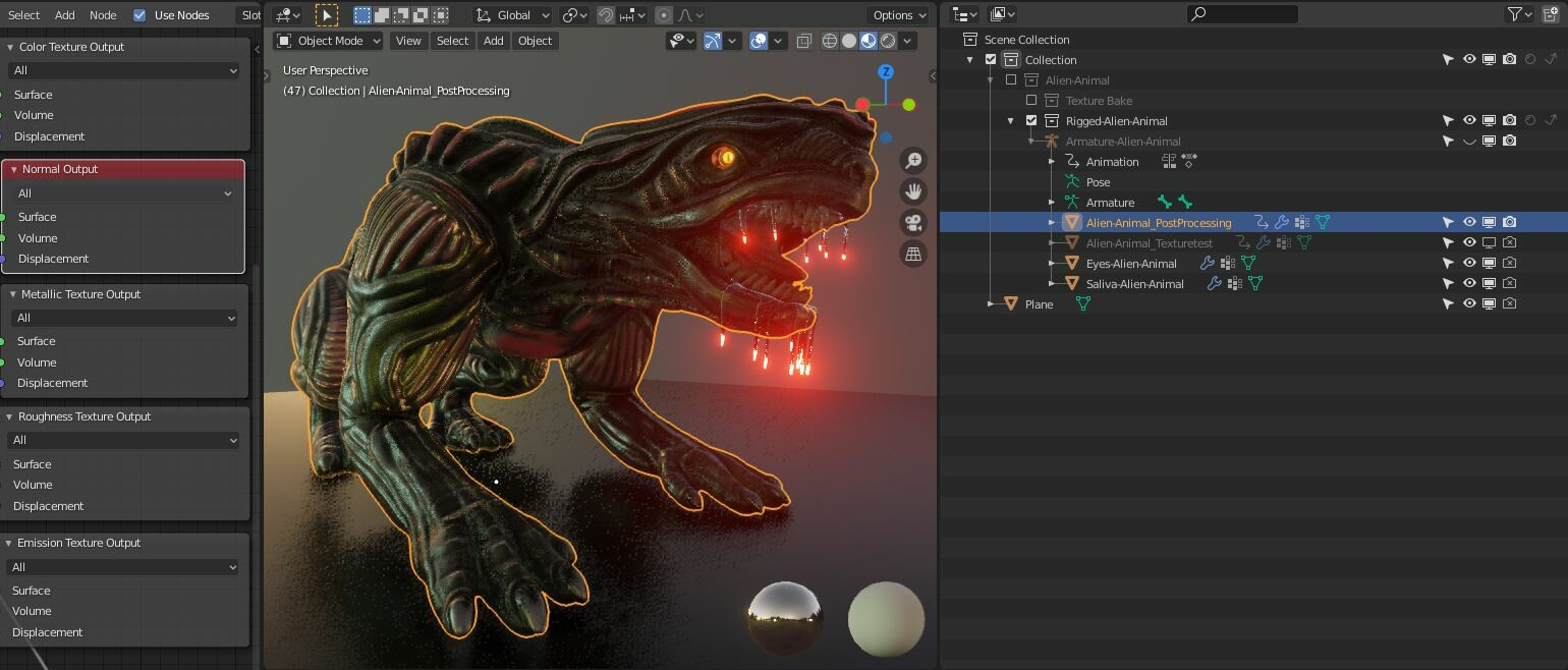 Object – Alien-Animal_PostProcessing :  The object is for setup the post processing material, it also can be high-poly to get more details. It is parented to the rig and has an Armature modifier for posing.