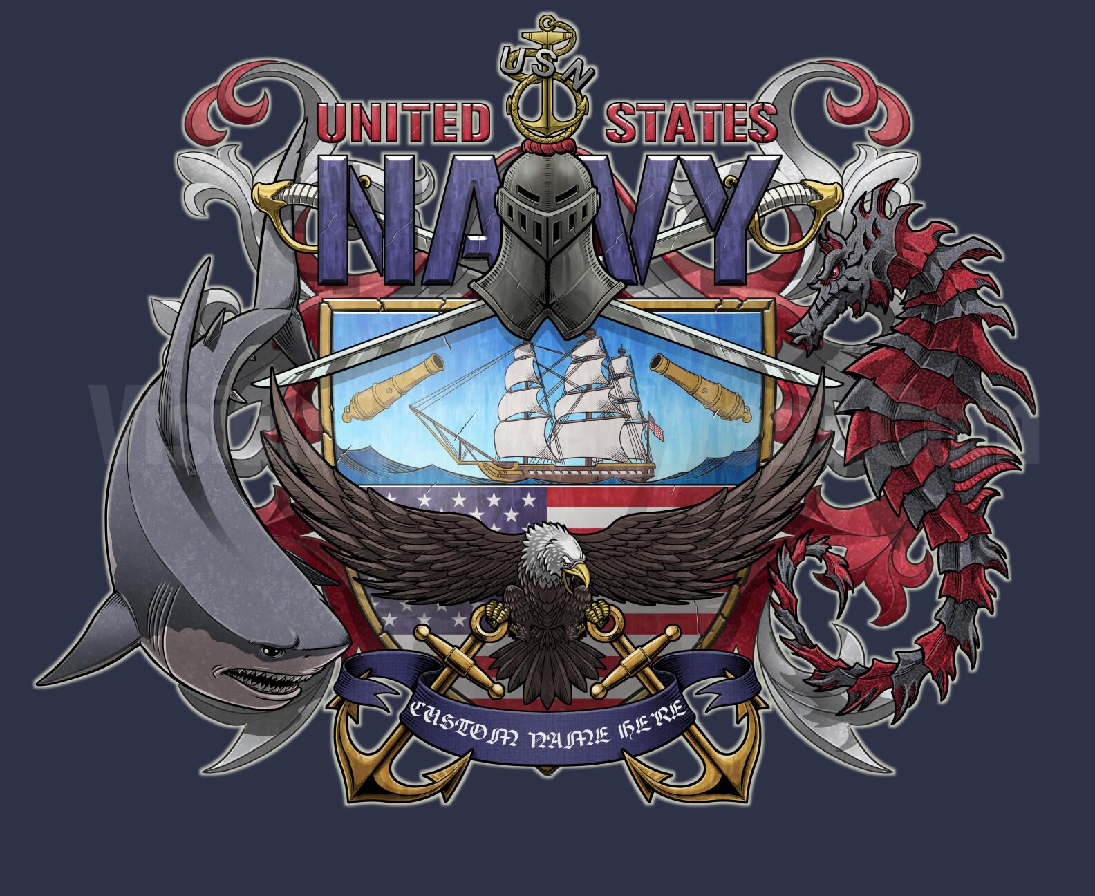 US Navy coat of arms shirt design