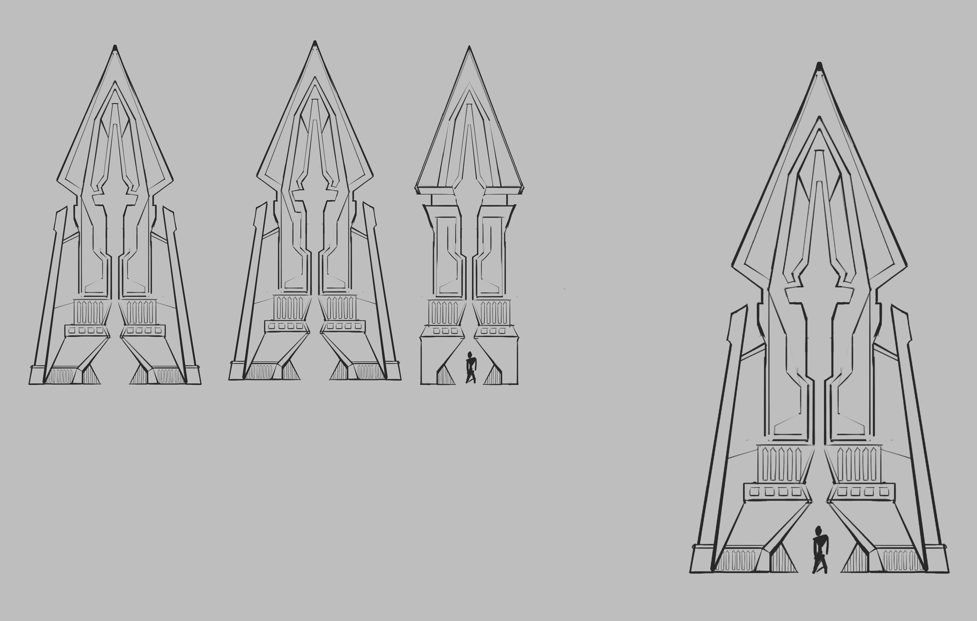 Some sketches I did for the gate re-design, I used this as a starting point in Maya but soon realized I had to simplify the shapes quite a bit