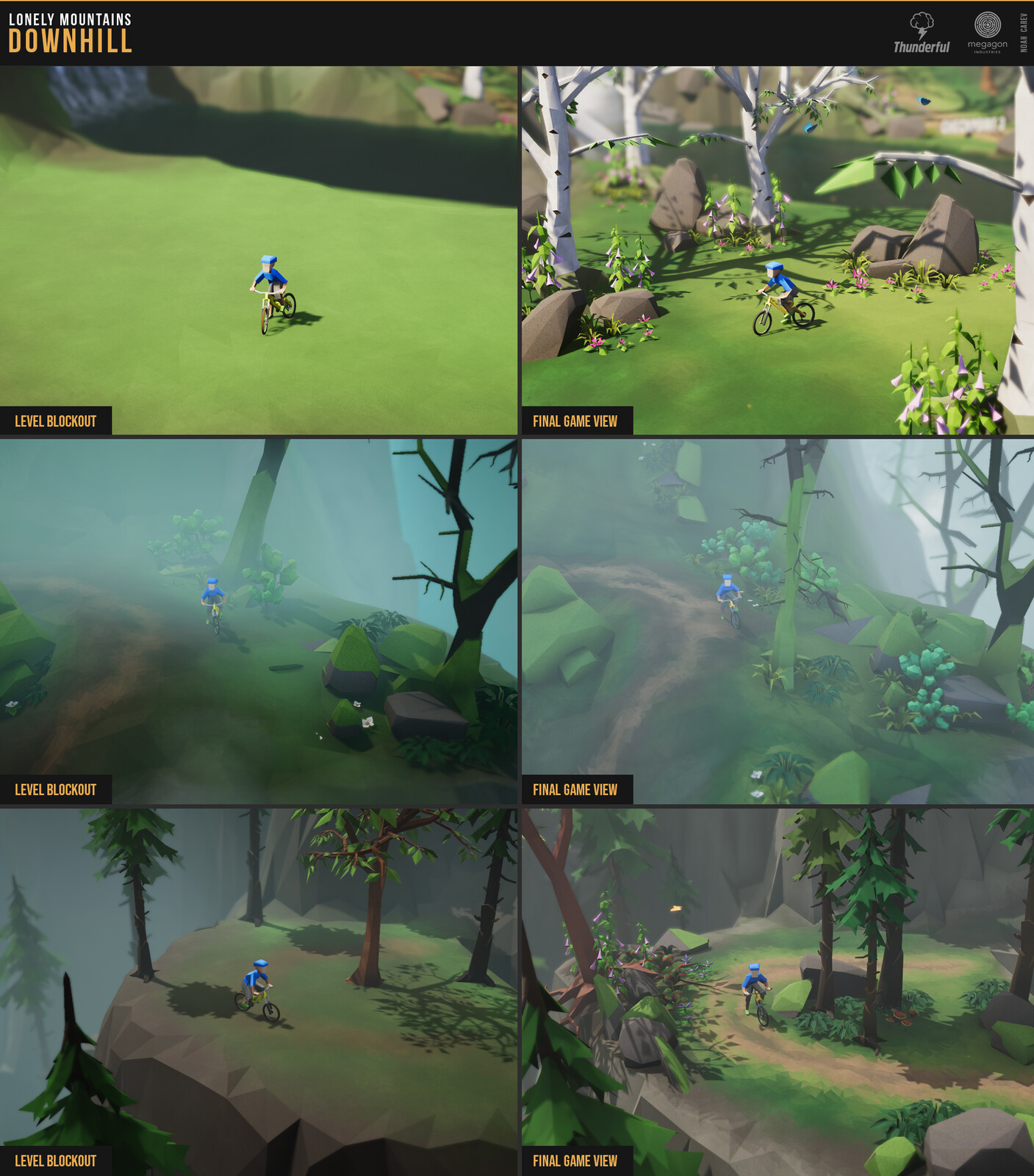 On the left side the rough level design, on the right side the finished trail ingame.