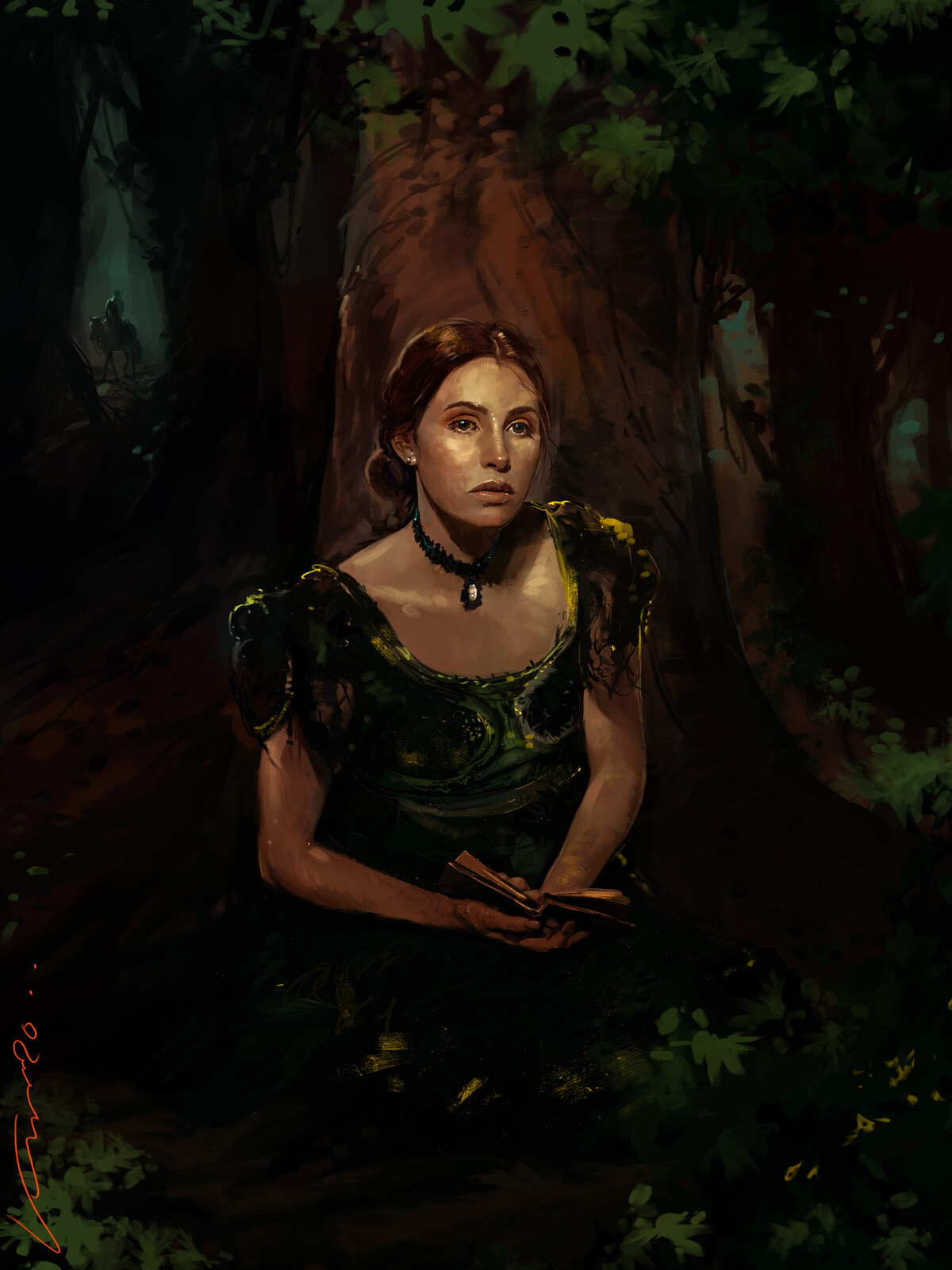 lady sitting in to the forest .
