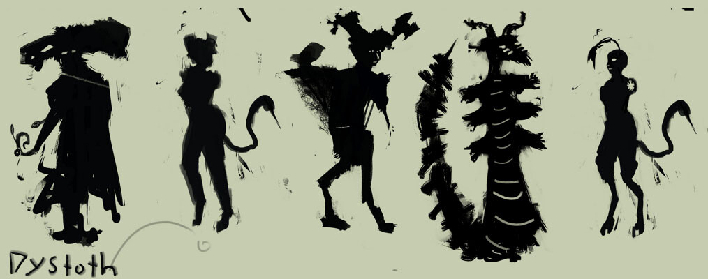 Silhouette concept sketches.