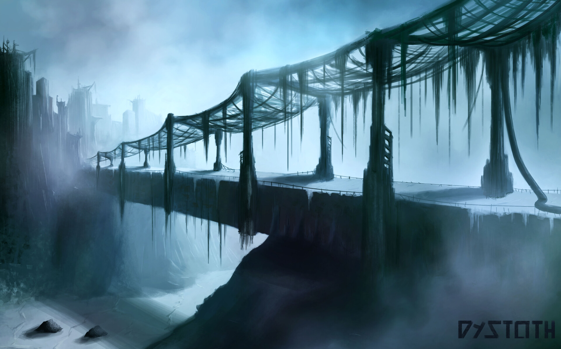"""Frozen mist hung in the air, as still and lifeless as the metal beams suspending our lives as we crossed"""