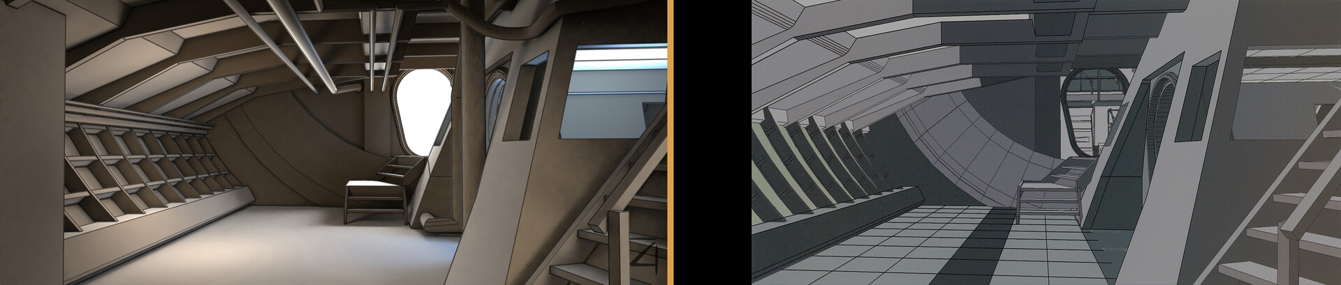 For the lounge, there were a couple of images in the Serenity Visual Companion of the 3D CAD files they had made to design the set, I was able to match the cameras from those images and model from them.