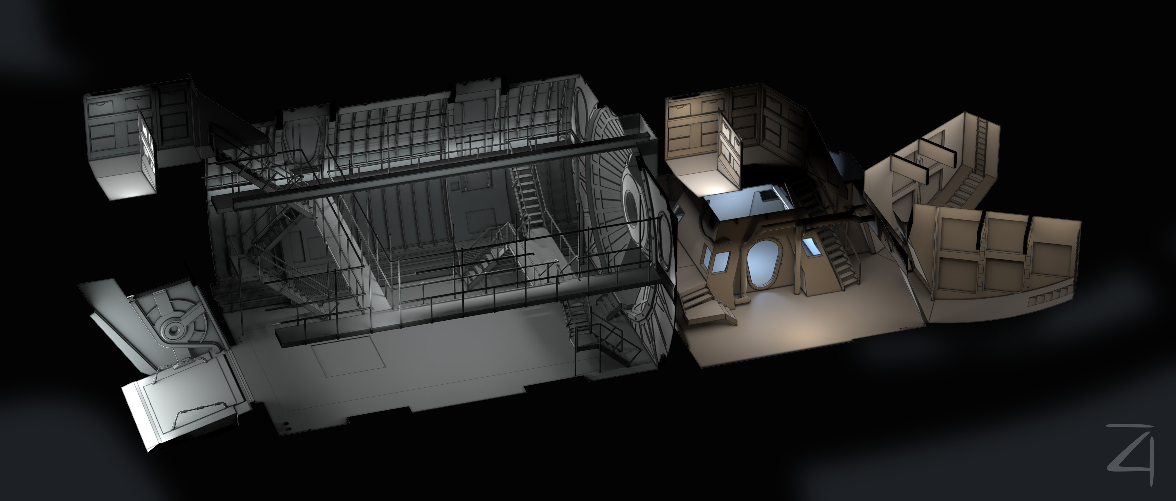 Overview of the bottom level. You can see why I didn't show both levels together, the passageway that goes from the lounge are up to the top level would need to be twice as high to reach above the top of the cargo hold.