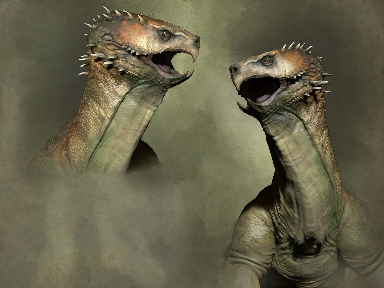 The lower jaw split and horns were to give the creature a more threatening disposition and silhouette.