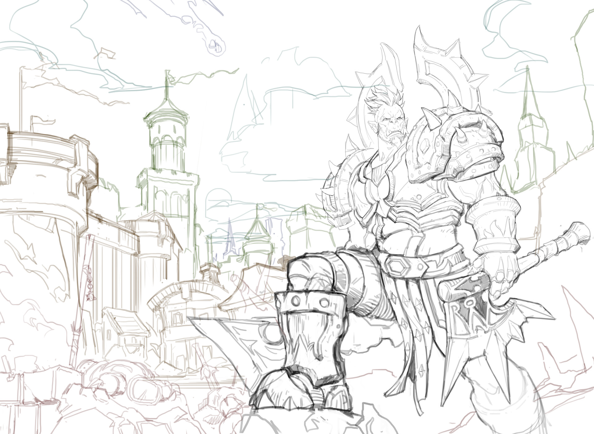 WoW inspired illustration - Lineart