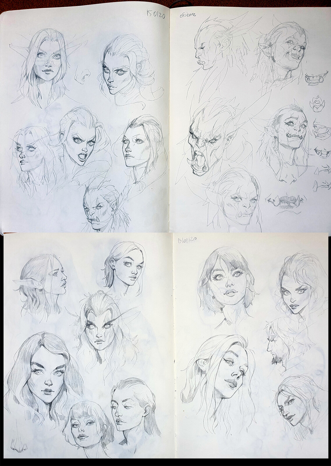 Female face explorations - At some point I would love to do an art of Jaina, in a more serious tone, so I did some explorations on my sketchbook - some Elise, Tyrande and the previous orc are around too.