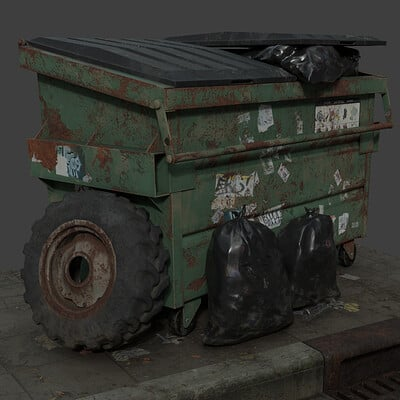 Street Corner - Dumpster and Tractor Tire