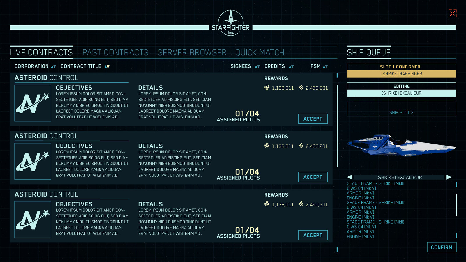 Contract Portal terminal. This is how pilots would access matches as 'contracts' they could sign up for. Pilots also could customize their loadout for their ship here before deploying, accessing different pre-built configurations as well.