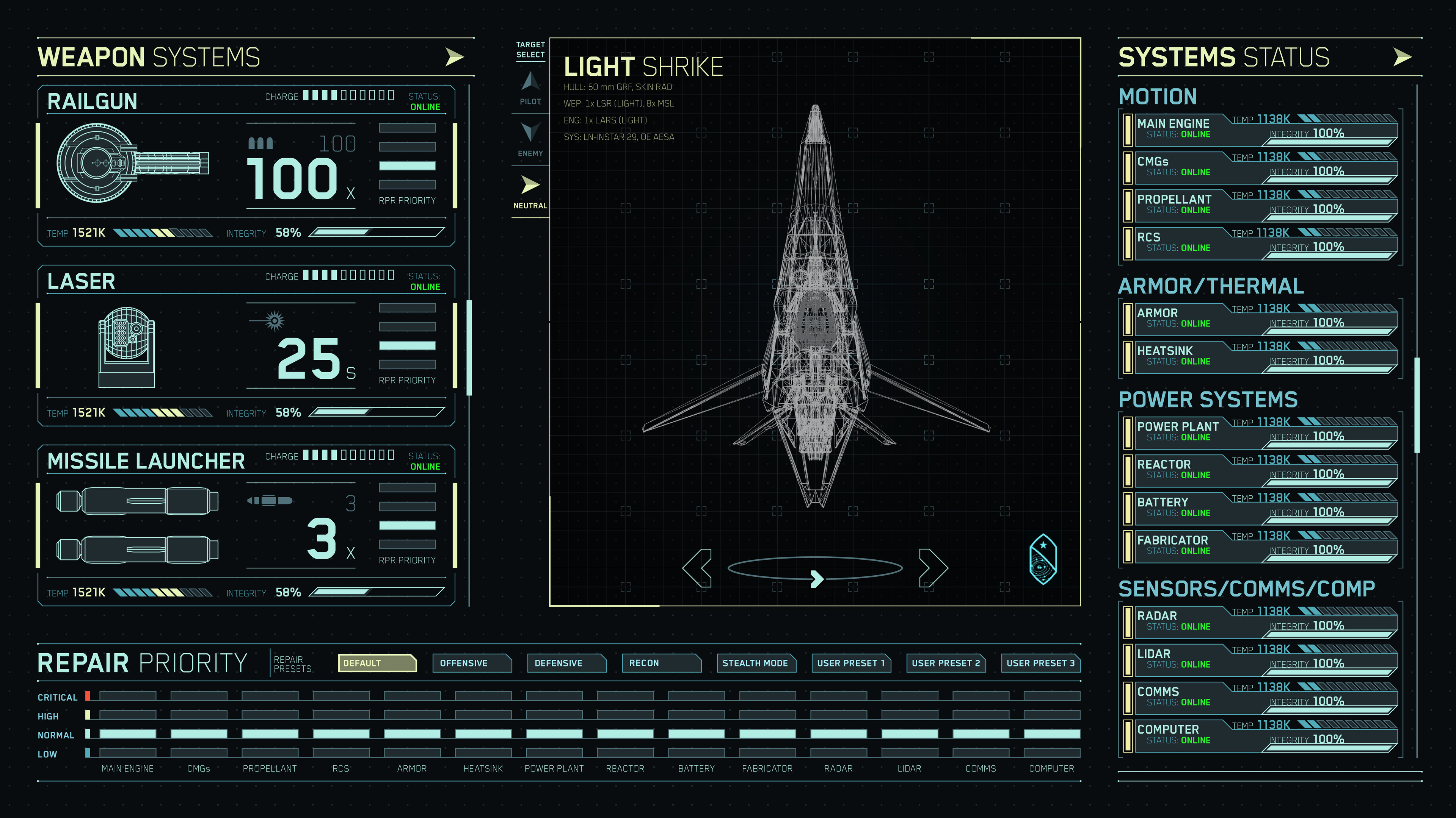 An example of looking at an allied ship's systems status.
