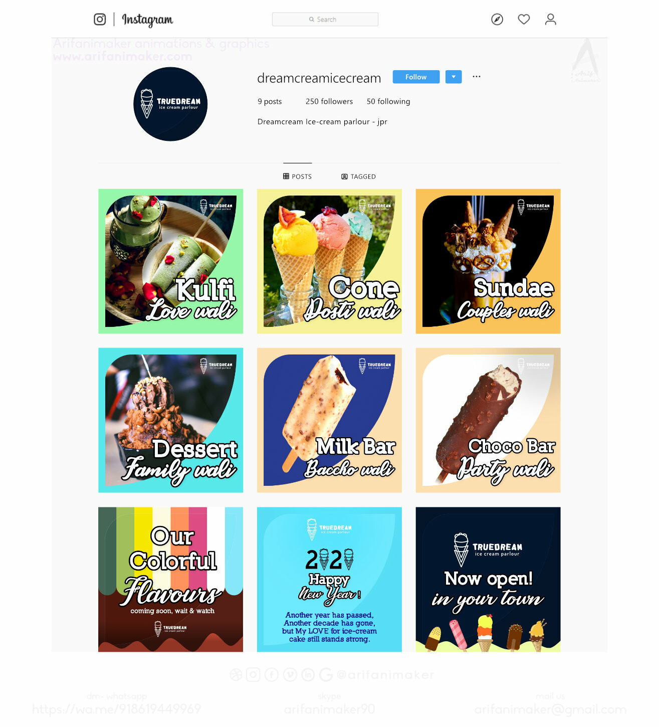 Ice cream parlor - Instagram page overview